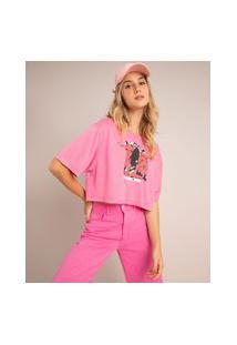 Camiseta Cropped De Moletinho La Casa De Papel Manga Curta Decote Redondo Pink