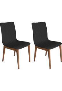 Conjunto Com 2 Cadeiras Luanda Veludo Chumbo