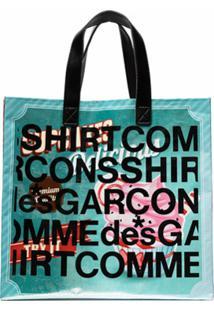 Comme Des Garçons Shirt Bolsa Tote Delicious Com Logo - Roxo