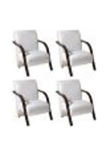 Conjunto De 4 Poltronas Sevilha Decorativa Braço De Madeira Cadeira Para Recepção, Sala Estar Tv Espera, Escritório, Vários Ambientes - Corino Branco