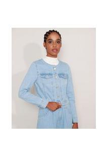 Jaqueta Jeans Com Recortes Decote Redondo Azul Claro