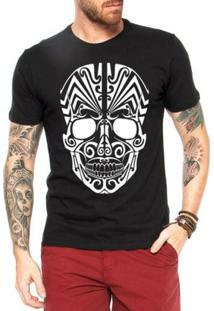Camiseta Criativa Urbana Caveira Mexicana Tribal - Masculino-Preto