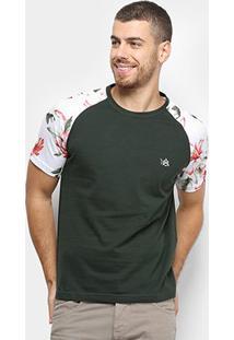 Camiseta Bulldog Fish Bicolor Flores Masculina - Masculino-Verde