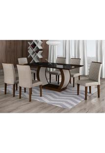 Conjunto De Mesa De Jantar Com 6 Cadeiras Maia Linho Castor E Preto