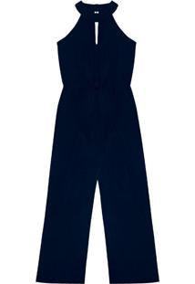 Macacão Feminino Com Decote Gota Azul