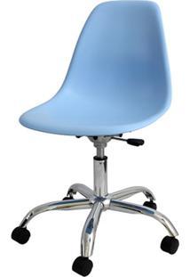 Cadeira Eames Com Rodizio Polipropileno Azul Claro - 19303 - Sun House