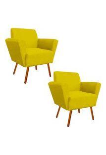 Kit 02 Poltronas Decorativa Dora Suede Amarelo - D'Rossi