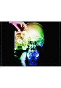 Jogo Americano Decorativo, Criativo E Descolado | Raio-X Caveira Fotógrafo Colorida - Tamanho 30 X 40 Cm