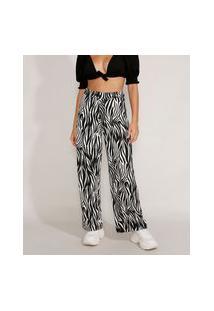 Calça Feminina Pantalona Cintura Super Alta Estampada Animal Print Zebra Preta