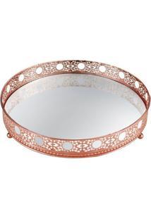 Bandeja Mart Decorativa Em Metal Com Espelho Cobre