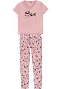 Pijama Feminino Em Malha De Algodão Com Decote V E Estampa