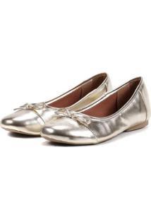 Sapatilha Feminina Metalizada Laço Leve Confortável Casual - Feminino-Dourado