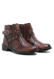 Bota Coturno Casual Feminino Ankle Boots Fivela Cloe Marrom