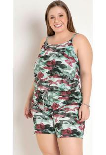 Conjunto Camuflado Com Blusa E Short Plus Size
