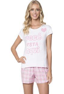 Pijama Feminino Manga Curta Xadrez Amor Lua Encantada