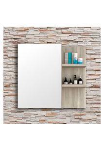 Espelheira Banheiro Bosi Malbec 1 Porta 2 Prateleiras Barrique/Argento