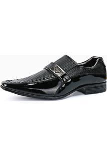 Sapato Social Masculino Sapatofran Em Couro Envernizado Preto