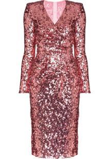 Dolce & Gabbana Vestido Envelope Com Paetês - Rosa