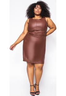 Vestido Curto Almaria Plus Size Sinap Couro Marrom - Marrom - Feminino - Poliã©Ster - Dafiti