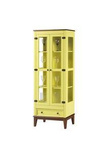 Cristaleira Bia 2 Portas E 1 Gavetas Cor Amarelo Com Amêndoa 180 Cm - 62981 Amarelo