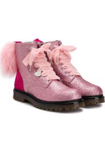 Monnalisa Ankle Boot Com Amarração - Rosa