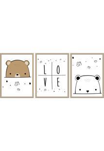 Quadro 40X90Cm Infantil Amor De Urso Moldura Natural Com Vidro Decorativo
