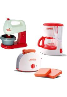 Kit Brinquedo Mini Eletrodomésticos Batedeira, Cafeteira E Torradeira - Samba Toys