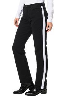 Calça Color Calvin Klein Jeans 5 Pockets Straight High Preto - 36
