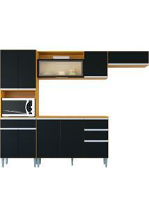 Cozinha Compacta 10 Portas E 3 Gaveta C/ Balcão Vanessa-Poquema - Damasco / Preto
