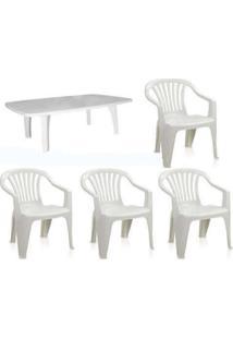 Conjunto Mesa Retangular 4 Cadeiras Poltrona Antares 3 Jogos