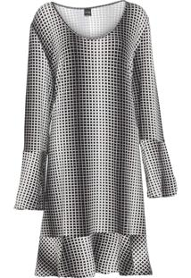 Vestido Rovitex Plus Curto Geométrico Preto/Off-White