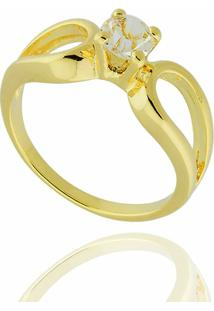 38461cb30f812 ... Anel Gotas Solitário Zircônia Semi Joia - Feminino-Dourado