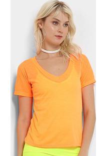 Camiseta Flora Zuu Neon Feminina - Feminino-Laranja