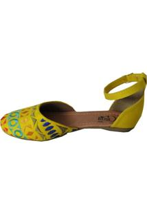 Sapatilha Cristhi Shoes Bordada Amarelo