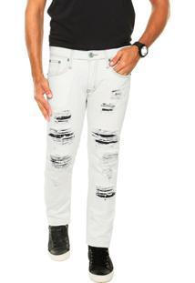 Calça Jeans Colcci Detalhes Off White