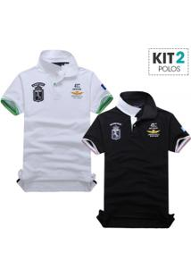 Kit 2 Camisas Polo Piquet Masculino Air Force Manga Curta - Branco E Preto