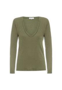 Camiseta Feminina Maxi Decote - Verde