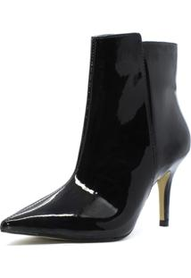 Bota Shoes Inbox Cano Médio Em Verniz Feminina - Feminino-Preto