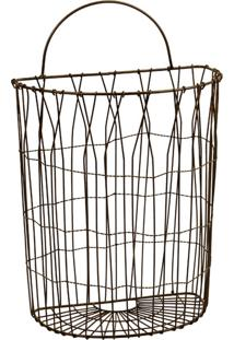 Cesta De Metal Decorativa Hamper Grande