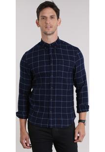 Camisa Xadrez Em Flanela Azul Marinho