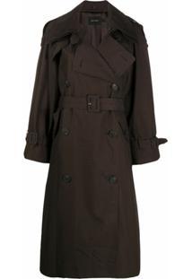 Low Classic Trench Coat Com Abotoamento Duplo E Cinto - Marrom