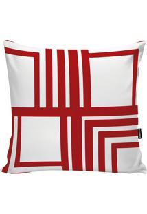 Capa Para Almofada Geometric- Branca & Vermelha- 45Xstm Home