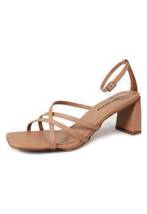 Sandália De Salto Damannu Shoes Kelly Bege
