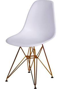 Cadeira Eames Polipropileno Branco Base Cobre - 45967 - Sun House