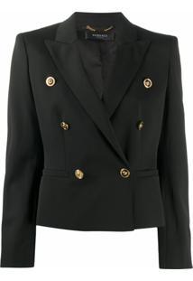 Versace Blazer Cropped Com Abotoamento Duplo - Preto
