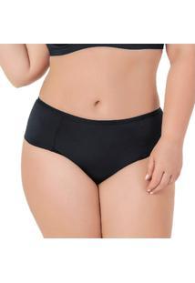 Calcinha Plus Size Com Frente Dupla Proteção Permanente - Feminino-Preto