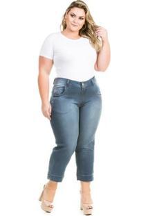 Calça Confidencial Extra Plus Size Cropped Jeans Feminina - Feminino-Azul