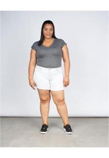 Bermuda Jeans Besni Plus Size Barra Desfiada Feminina - Feminino-Azul+Off White