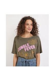 """Blusa Feminina Folhas Jungle Fever"""" Manga Curta Decote Redondo Verde"""""""