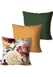 Kit Com 3 Capas Para Almofadas Pump Up Decorativas Verde Pintura Flor 45X45Cm